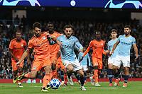 Football - 2018 / 2019 UEFA Champions League - Group F: Manchester City vs. Olympique Lyonnais<br /> <br /> Leo Dubois of Olympique Lyonnais and Bernardo Silva of Manchester City, at the Etihad Stadium.<br /> <br /> COLORSPORT/PAUL GREENWOOD