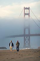 Baker Beach at sunset. Presidio of San Francisco. Golden Gate National Recreation Area. San Francisco,  CA<br />