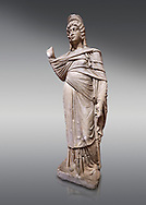 Roman statue of Julia Domina . Marble. Perge. 2nd century AD. Inv no 3268. Antalya Archaeology Museum; Turkey.<br /> <br /> Julia Domna (AD 160–217) was a Roman empress , the second wife of Septimius Severus (reigned 193–211). .<br /> <br /> If you prefer to buy from our ALAMY STOCK LIBRARY page at https://www.alamy.com/portfolio/paul-williams-funkystock/greco-roman-sculptures.html . Type -    Antalya     - into LOWER SEARCH WITHIN GALLERY box - Refine search by adding a subject, place, background colour, museum etc.<br /> <br /> Visit our ROMAN WORLD PHOTO COLLECTIONS for more photos to download or buy as wall art prints https://funkystock.photoshelter.com/gallery-collection/The-Romans-Art-Artefacts-Antiquities-Historic-Sites-Pictures-Images/C0000r2uLJJo9_s0