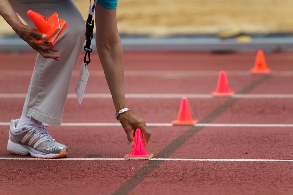 Samsung Diamond League adidas Grand Prix track & field; official setitng cones on track