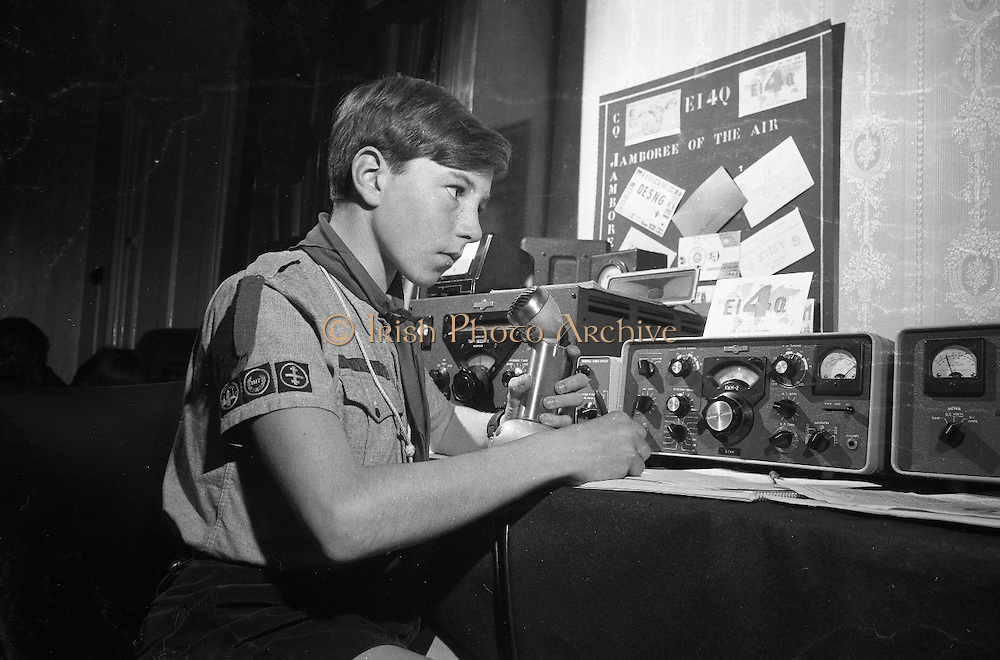 """Jamboree of the Air for Catholic Boy Scouts of Ireland.  Picture shows Patrol Leader Geoffrey O'Sullivan of the Donnybrook Unit, Catholic Scouts of Ireland, calling """"C-O Jamboree"""" during the """"Jamboree of the Air"""". The Jamboree is a link up of the world's ten million scouts with the aid of amateur radio operators..22.10.1966"""