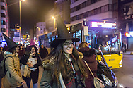 Nlazli Akarso (centre) walks with other members of the Kampüs Cadıları (Campus witches) to a small demonstration in the Kadıköy district of Istanbul, Turkey, for the upcoming international women's day on March 8th 2018.