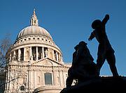 A World War 2 Blitz Memorial outside St Pauls Cathedral, London, UK
