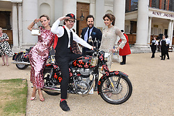 Left to right, Charlotte Carroll, Philip Colbert, Diego Bivero-Volpe and Saba Yussouf at the Concours d'éléphant in aid of Elephant Family held at the Royal Hospital Chelsea, London, England. 28 June 2018.