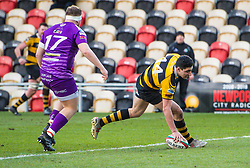 Newport's Adam Sabri scores his sides second try - Mandatory by-line: Craig Thomas/Replay images - 04/02/2018 - RUGBY - Rodney Parade - Newport, Wales - Newport v Ebbw Vale - Principality Premiership