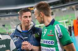 Jasmin Cuturic and Nikola Grbic of Cuneo after the volleyball match between ACH Volley Ljubljana and Bre Banca Lannutti Cuneo (ITA) in Playoff 12 game of CEV Champions League 2012/13 on January 15, 2013 in Arena Stozice, Ljubljana, Slovenia. (Photo By Vid Ponikvar / Sportida.com)