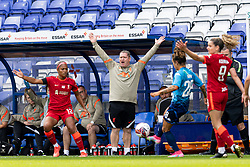 BIRKENHEAD, ENGLAND - Sunday, August 29, 2021: Liverpool's manager Matt Beard appeals during the FA Women's Championship game between Liverpool FC Women and London City Lionesses FC at Prenton Park. London City won 1-0. (Pic by Paul Currie/Propaganda)
