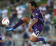 5-SPORT.Paul Kane (Getty Images).Leo Bertos of the Glory traps the ball mid air during the round 19 A-League match between the Perth Glory and the Central Coast Mariners.
