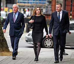 © Licensed to London News Pictures. 14/03/2017. London, UK. GORDON Ramsay's father-in-law CHRIS HUTCHESON (L) his daughter ORLANDS BUTLAND and son ADAM HUTCHESON (R) arrive at Westminster Magistrates Court in London where they are charged with hacking in to the celebrity chefs computer. Hutcheson, 68, is accused of conspiracy to access Ramsay's PC after a fall-out when the TV cook fired him as chief executive of his business. Photo credit: Ben Cawthra/LNP