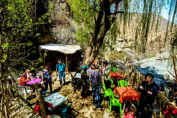 Tourists at the Waterfall Cafe at the Setti-Fatma waterfall high in the Atlas in the Ourika Valley, Morocco, North Africa<br /> <br /> (c) Andrew Wilson | Edinburgh Elite media