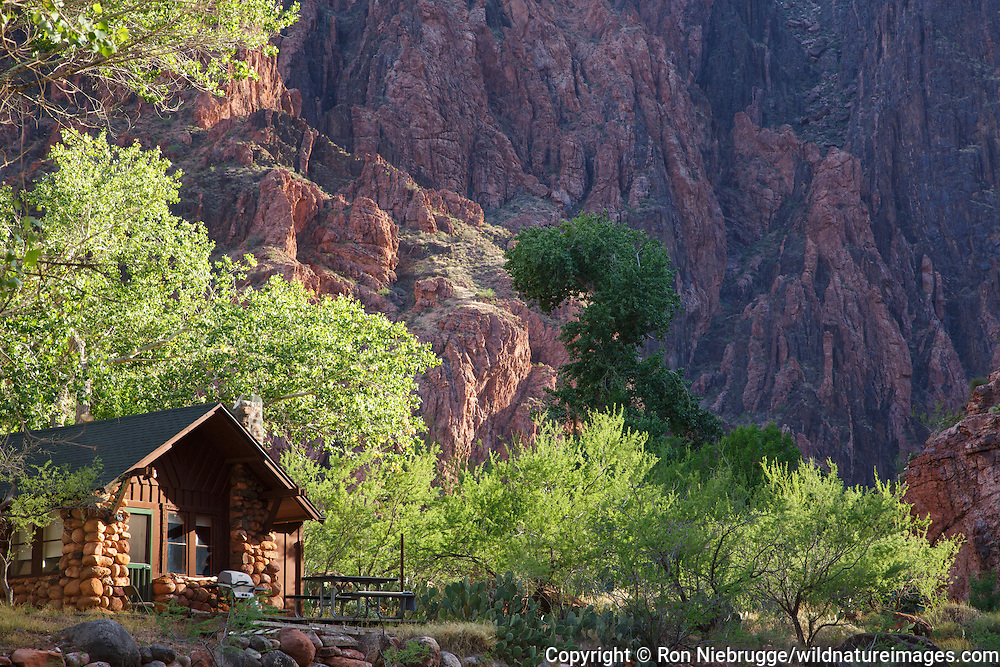 Park Service cabin at the bottom of the Grand Canyon near the Colorado River and Bright Angel Creek, Grand Canyon National Park, Arizona.