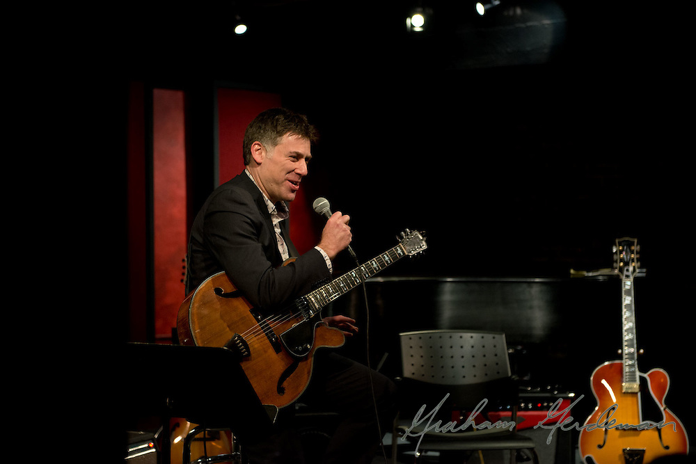 Guitarist Peter Bernstein addresses a sold out crowd for the first of two nights at the Nashville Jazz Workshop.