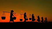 Myanmar, Silhouette of workers carrying yoke and buckets at sunset