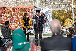 7 December 2019, Madrid, Spain: Juan Carlos Alarcón from the Climate Change Platform, Bolivia leads a word of prayer, as  people of faith gather in a 'Prayer for the Rainforest' as part of the Cumbre Social por el Clima, on the fringes of COP25 in Madrid, where faith-based organizations continue to urge decision-makers to take action for climate justice.