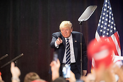 October 28, 2016 - Manchester, NH, USA - Donald Trump, the republican candidate for president of the United States, addresses supporters during a campaign stop at the Armory Ballroom in the Radisson Hotel in Manchester, NH. (Credit Image: © Bryce Vickmark via ZUMA Wire)