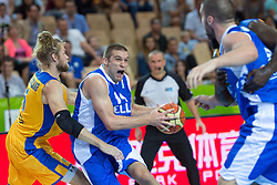 04.09.2013, Arena Bonifka, Koper, SLO, Eurobasket EM 2013, Schweden vs Griechenland, im Bild Michail Bramos #14 of Greece goes up to shoot against Jonathan Skjoldebrand #5 of Sweden // during Eurobasket EM 2013 match between Sweden and Greece at Arena Bonifka in Koper, Slowenia on 2013/09/04. EXPA Pictures © 2013, PhotoCredit: EXPA/ Sportida/ Matic Klansek Velej<br /> <br /> ***** ATTENTION - OUT OF SLO *****