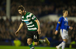 LIVERPOOL, ENGLAND - Tuesday, February 16, 2010: Sporting Clube de Portugal's Miguel Veloso celebrates scoring from the penalty spot against Everton during the UEFA Europa League Round of 32 1st Leg match at Goodison Park. (Photo by: David Rawcliffe/Propaganda)
