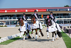 Team Denmark, Heering Charlotte, Dufour Catherine, Skodborg Merrald Nanna, Bachmann Andersen Daniel<br /> European Championship Dressage - Hagen 2021<br /> © Hippo Foto - Dirk Caremans<br /> 08/09/2021