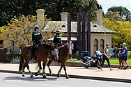 Police horses are seen at the Shrine as police wait for protesters to arrive during COVID-19 in Melbourne, Australia. Premier Daniel Andrews comes down hard on Victorians breaching COVID 19 restrictions, threatening to close beaches if locals continue to flout the rules. This comes as Victoria sees single digit new cases. (Photo by Dave Hewison/Speed Media)