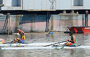 Linz. AUSTRIA.    Men's Single Sculls,  Semi Final 1.  winner, ROU BM1X, Petru CODAU, second BEL BM1X, Hannes OBRENO and Third, MEX BM1X, Juan Carlos CABRERA. FISA U23 World Championships, Linz-Ottensheim Rowing Course.  10:45:13  Saturday  27/07/2013. [Mandatory Credit, Peter Spurrier/ Intersport Images] ,