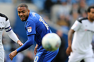 Kenneth Zohore of Cardiff city in action. EFL Skybet championship match, Cardiff city v Derby County at the Cardiff city stadium in Cardiff, South Wales on Saturday 30th September 2017.<br /> pic by Andrew Orchard, Andrew Orchard sports photography.