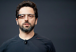 """Google co-founder Sergey Brin wears a pair of the """"Project Glass"""" during a demonstration at the annual Google I/O developers conference in San Francisco, California."""