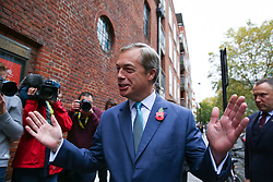 © Licensed to London News Pictures. 01/11/2019. London, UK. Brexit Party leader NIGEL FARAGE arrives at The Emmanuel Centre, Westminster and waves to the media. The Brexit Party are launching their election campaign today. Photo credit: Dinendra Haria/LNP
