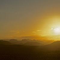 A sunset over the Wadi Rum in Jordan.