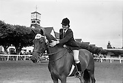 "08/08/1962<br /> 08/08/1962<br /> 08 August 1962<br /> Dublin Horse Show at the RDS, Ballsbridge, Wednesday. <br /> Picture shows ""Charm"" a 4 year old brown mare owned by Mrs R. Carroll, South View, Killenaule, Co. Tipperary and shown by her 15 year old daughter Miss Vera Carroll, won the Childrens Champion Pony Award at the Dublin Horse Show."