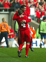 Photo: Scott Heavey<br />Wales V Azerbaijan. 29/03/03.<br />Gary Speed celebrates with Andy Melville after making the score 2-0 during this afternoons Euro 2004 Group 9 qualifying match at the Millenium stadium in Cardiff.