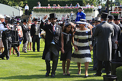 Barney Roy owner Sheikh Mohammed bin Rashid Al Maktoum and Princess Haya bint Al Hussein of Jordan (right) celebrate in the winners encloser after winning the St James's Palace Stakes during day one of Royal Ascot at Ascot Racecourse.