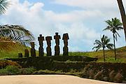 Moai at Anakena Beach, Easter Island, Chile