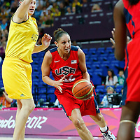 09 August 2012: USA Diana Taurasi is seen in the traffic during 86-73 Team USA victory over Team Australia, during the women's basketball semi-finals, at the 02 Arena, in London, Great Britain.