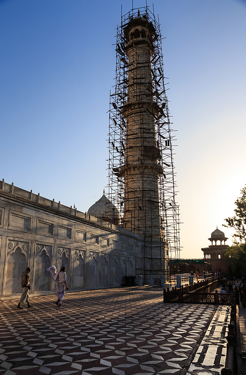 The minaret renovation in Taj Mahal in Agra, India. In 2016 the pinnacle of a minaret suffered damage during renovation and also a tourist suffered serious head injury  after a stone fell off the monument's minaret.