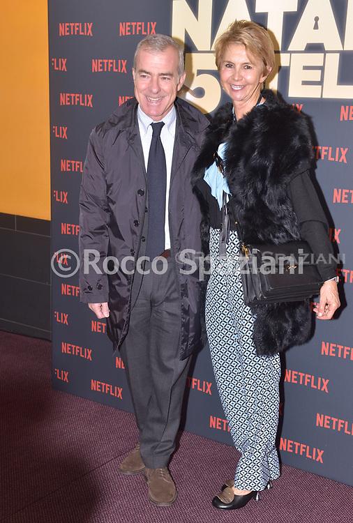 Giampaolo Letta con la moglie   Rossana  PHOTOCALL<br /> del film NATALE A 5 STELLE di  MARCO RISI. 7 dicembre 2018