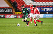 Rochdale's Ryan McLaughlin and Charlton's Albie Morgan during the EFL Sky Bet League 1 match between Charlton Athletic and Rochdale at The Valley, London, England on 12 January 2021.