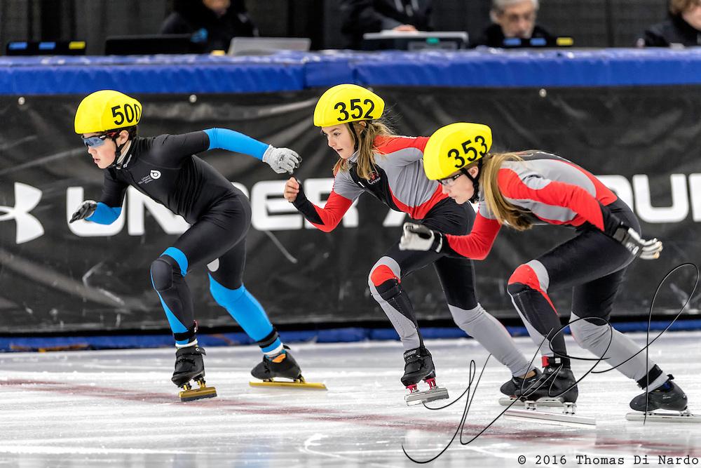 December 17, 2016 - Kearns, UT - Hudson Halling, Cristina Morelli, and Lily McKay skate during US Speedskating Short Track Junior Nationals and Winter Challenge Short Track Speed Skating competition at the Utah Olympic Oval.