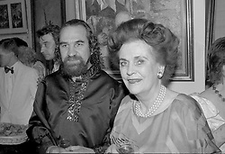 13 June 1989 - Margaret, Duchess of Argyll and Israel Zohar at an exhibition in London.<br /> <br /> Photo by Desmond O'Neill Features Ltd.  +44(0)1306 731608  www.donfeatures.com