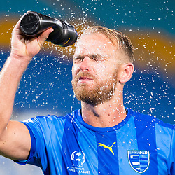 BRISBANE, AUSTRALIA - SEPTEMBER 20: Justyn McKay of Gold Coast City cools down after the Westfield FFA Cup Quarter Final match between Gold Coast City and South Melbourne on September 20, 2017 in Brisbane, Australia. (Photo by Gold Coast City FC / Patrick Kearney)