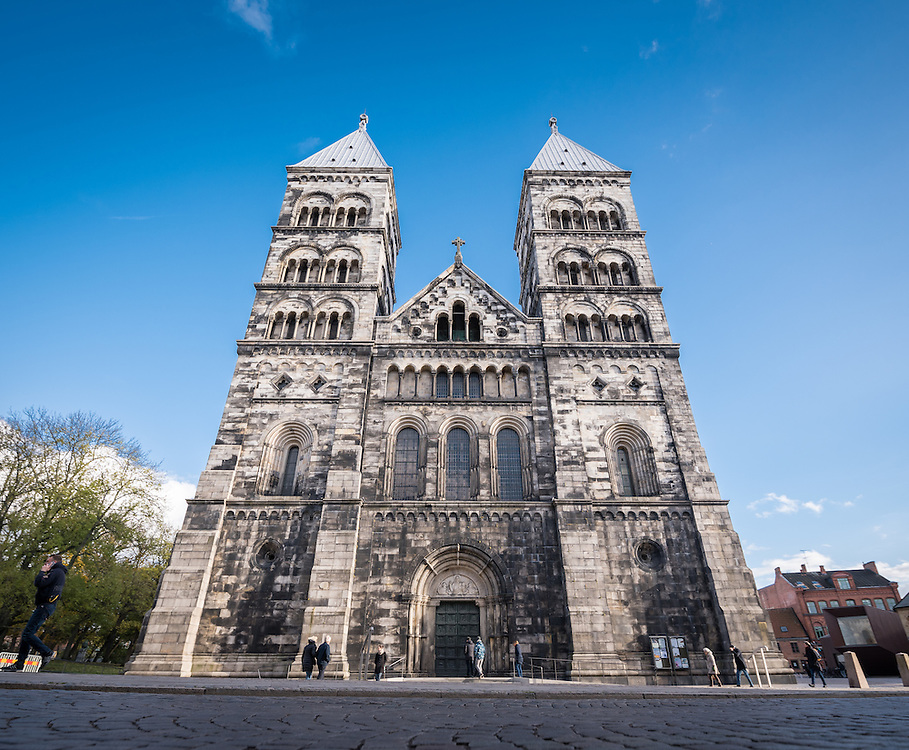 29 October 2016, Lund, Sweden: Lund Cathedral, the 12th century cathedral owned by the Church of Sweden, founded in 1080 and consecrated in the 12th century.