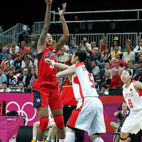 05 August 2012: USA Seimone Augustus takes a jumpshot during 114-66 Team USA victory over Team China, during the women's basketball preliminary, at the Basketball Arena, in London, Great Britain.