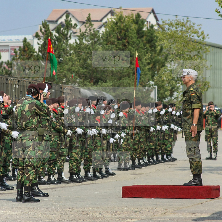 Portuguese troops serving under NATO mission in Kosovo held a welcome ceremony on Saturday, Sept 26, 2009 - to transfer the authority from the First Battalion of Infantry - Brigade Battalion intervention to First Mechanized Infantry-Mechanized Brigade. German lieutenant Marcus Bentler (in picture) led the ceremony. (Photo/ Vudi Xhymshiti) Bentler led the ceremony. (Photo/ Vudi Xhymshiti)