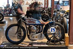 Brittney Olsen's Born Free-6 1923 Harley-Davidson board track racer built by husband Matt shown on display on Sunday at the Handbuilt Motorcycle Show. Austin, TX. April 12, 2015.  Photography ©2015 Michael Lichter.