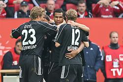 16.05.2010, impuls arena, Augsburg, GER, 1. FBL, Relegation, Rueckspiel, FC Augsburg vs 1. FC Nuernberg, im Bild: .Eric Maxim Choupo-Moting (Nuernberg #14) macht das 0:2 und jubelt mit Marcel Risse (Nuernberg #12), Ilkay Guendogan (Nuernberg #22) , Andreas Ottl (Nuernberg #23) und Christian Eigler (Nuernberg #8) .EXPA Pictures © 2010, PhotoCredit: EXPA/ nph/  news / SPORTIDA PHOTO AGENCY