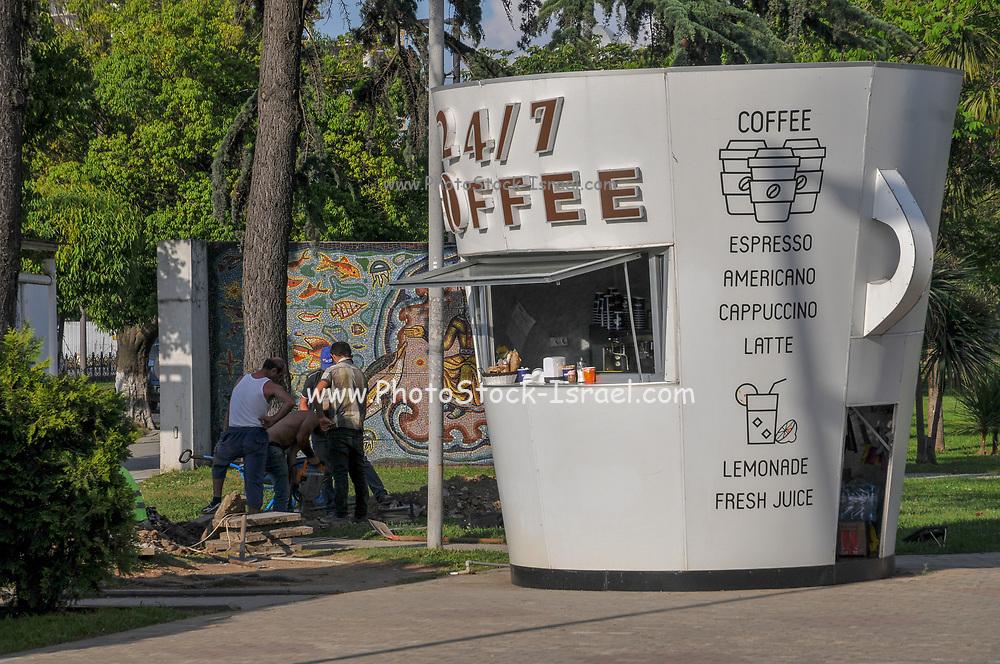 A kiosk in the shape of a coffee cup selling coffee in Batumi, Georgia
