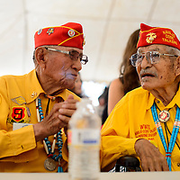 081414  Adron Gardner<br /> <br /> U.S. Marine Corps Code Talkers John Kinsel, left, and Kee Etsicitty chat before the start of festivities during Code Talker day in Window Rock Thursday.