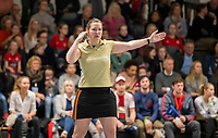 HAMBURG  (Ger) - Match 19,  for bronze , Der Club an der Alster (Ger) - Club Campo de Madrid (Esp)  Photo:  umpire Claire Druijts   Eurohockey Indoor  Club Cup 2019 Women . WORLDSPORTPICS COPYRIGHT  KOEN SUYK