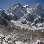 Panorama of Mount Everest from Pumori Camp 1, Nepal, 2012. The image shows Mount Everest, Lhotse, Nuptse, and the surrounding peaks, including those far down valley. <br /> <br /> Please visit http://www.gigapan.com/gigapans/150764 to see the image in full resolution.