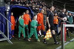 (L-R) Daley Blind of Holland, goalkeeper Jasper Cillessen of Holland, Arjen Robben of Holland during the FIFA World Cup 2018 qualifying match between Belarus and Netherlands on October 07, 2017 at Borisov Arena in Borisov,  Belarus