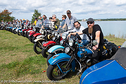 Kyle Rose lined up for the panorama portrait in Aune Osborne Park in Sault Sainte Marie, the site of the official start of the Cross Country Chase motorcycle endurance run from Sault Sainte Marie, MI to Key West, FL. (for vintage bikes from 1930-1948). Thursday, September 5, 2019. Photography ©2019 Michael Lichter.